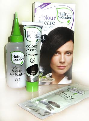 Farby do włosów: Hairwonder , Colour&Care, kolor czarny i mój sposób na żelatynę ;)